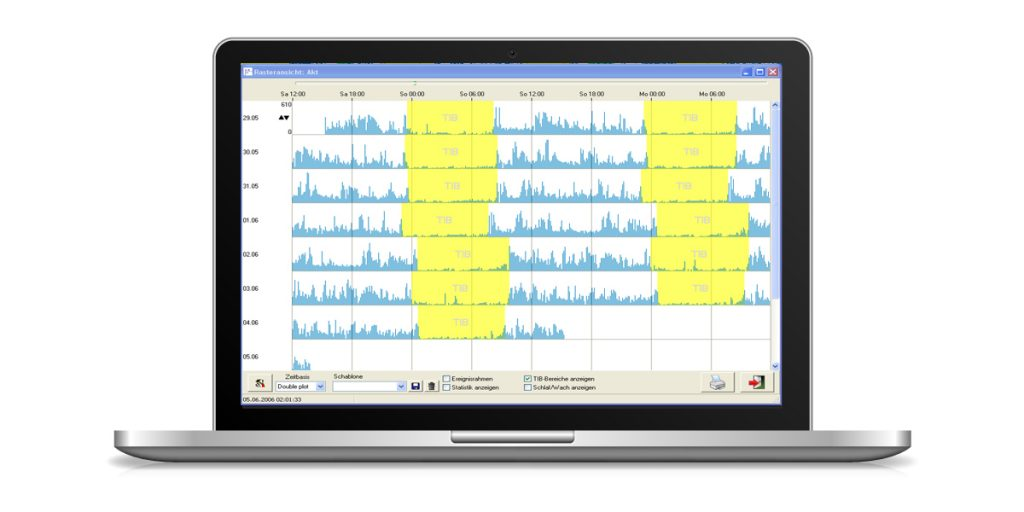 A picture of a laptop with a screen shot of the DOMINO software mincludes a double plot function for easier analysis of data.