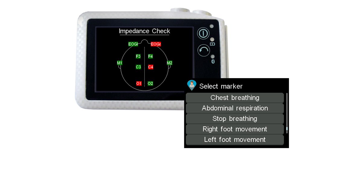 SOMNO HD PSG, Polysomnography sleep diagnostic device, sleep screener, with a screen showing impedance check and another screen showing a patient marker example. This PSG device allows bedside signal check.