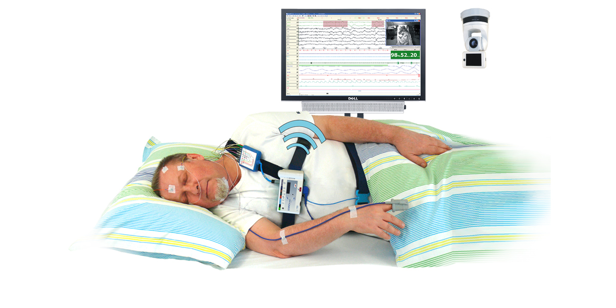 A patient wearing a SOMNOscreen Plus in a home/ambulatory setting. We offer a number of innovative camera solutions for the Sleep laboratory.