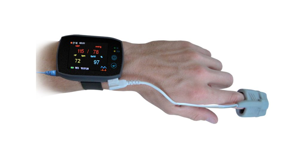 The SOMNOtouch NIBP is often worn on the wrist.