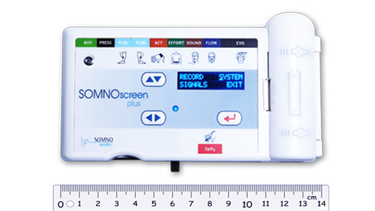SOMNOscreen PSG device with a ruler showing how small it is.