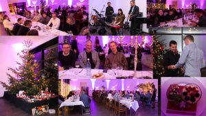 Friday night was Christmas party night a SOMNOmedics - A photo collage of the SOMNOmedics Christmas Party 2018 showing the beautiful decorations, the annual tombola event and the band which played to the small hours of the morning!
